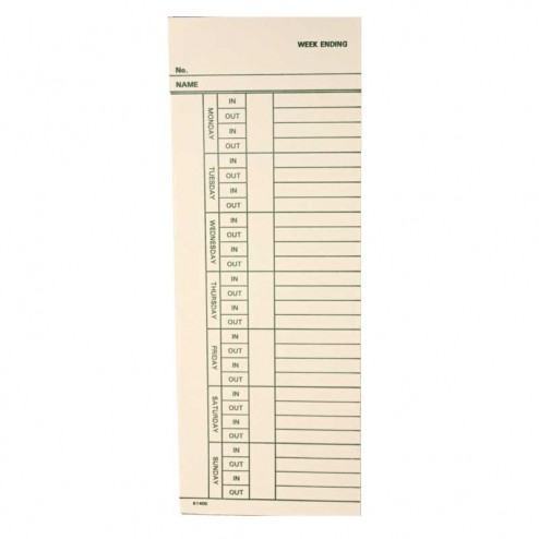 Widmer K-1400 Weekly time cards